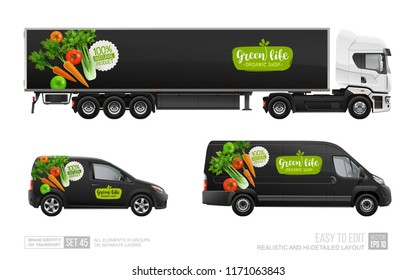 Realistic Vector Mockups Set of BlacTruck Trailer, Delivery Van with vegetal logo isolated from white. Organic vegetable branding for transport identity. Natural Food delivery vehicles Mockup template