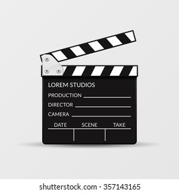 Realistic vector movie clapperboard for cinema, entertainment cinematography illustration