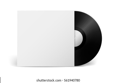 Realistic vector music gramophone vinyl LP record with cover isolated on white background. Design template of retro long play.