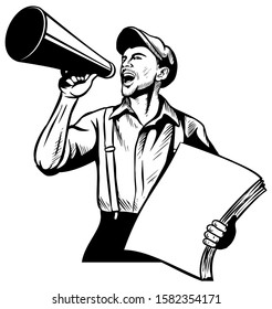 Realistic vector newspaper boy with the speaking trumpet, holding the pack of newspapers, on white background.