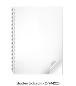 Realistic vector notebook with bended corner