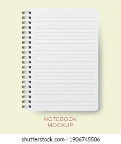 Realistic vector notebook mockup with lined paper sheet. spiral notepad blank mockup A4.