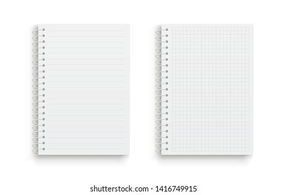 Realistic vector notebook. Square and lined. Front view. - stock vector.