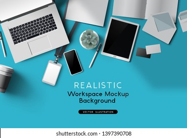 Realistic Vector office desk top view with a notebook and accessories. Vector mockup scene template.
