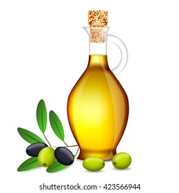 Realistic Vector Olive Oil Glass Bottle.Branch with olives and Leaves Isolated on White Background.