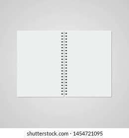 Realistic vector open notebook on gray background. Foreground. Vector illustration.
