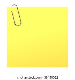 Realistic vector paper clip and yellow paper sticker.