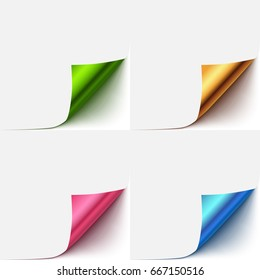 Realistic vector paper curled corner set. Colorful paper flip over