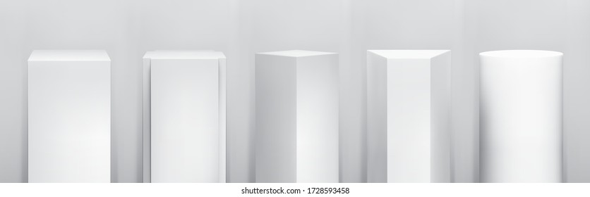 Realistic vector pedestal base collection. Set of tribunes, product podiums, platform stages. Empty geometrical pillars for exhibition showroom