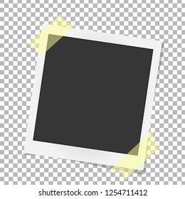 Realistic vector photo frame on sticky tape. Template Polaroid photo design. Vector illustration