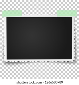 Realistic vector photo frame with retro figured edges on sticky tape placed horizontally. Template photo design.