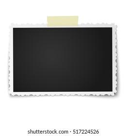 Realistic vector photo frame with retro figured edges on piece of sticky, adhesive tape placed vertically isolated on white background. Template photo design.