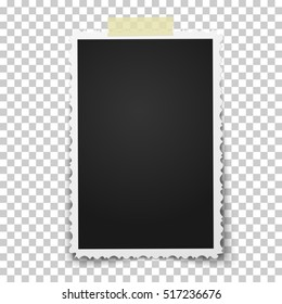 Realistic vector photo frame with retro figured edges on piece of sticky, adhesive tape placed vertically on transparent background. Template photo design.