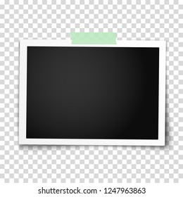 Realistic vector photo frame with straight edges on sticky tape placed horizontally. Template photo design.
