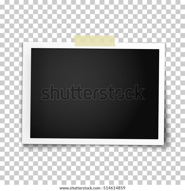 Реалистичная векторная фоторамка с прямыми краями на липкой ленте. Шаблон фото дизайна.