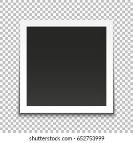 Realistic vector photo frame. Template photo design. Vector illustration.