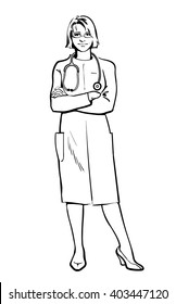 Realistic vector Physicians upright. Should the doctor a young girl. man in a medical dressing gown. People stand with his arms crossed. Doctors warn. A close look. Hand-drawn style.