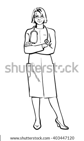 eed57dda442 Realistic vector Physicians upright. Should the doctor a young girl. man in  a medical dressing gown. People stand with his arms crossed. Doctors warn.