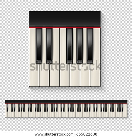 Realistic Vector Piano Keys Closeup Isolated And Keyboard Icon Set On Transparent Background Design