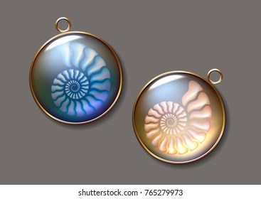 Realistic vector picture two lockets with fossil Ammonite seashell inside. pearly, pure and airy Jewel.