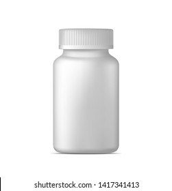 Realistic vector pill bottle. White plastic medicine container for drugs. Sport, health and nutritional supplements. Mock up template.