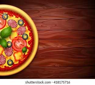 Realistic vector Pizza recipe or menu wood background. Pizza with tomatoes and pepperoni on wooden table