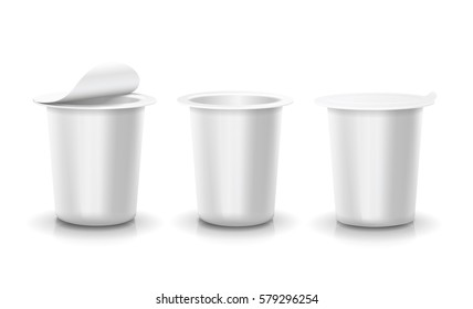 Realistic vector plastic container set of yogurt or dessert Template opened and closed blank packages