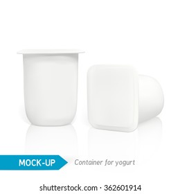 Realistic vector plastic container of yogurt or other dairy products. Mock-up packages
