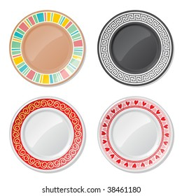Realistic vector plates (place setting).