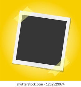 Realistic vector Polaroid photo frame on sticky tape isolated on yellow background. Template photo design. Vector illustration