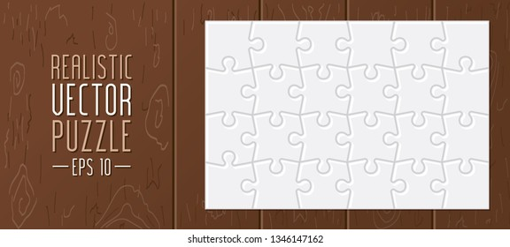 Realistic vector puzzle and wooden background.