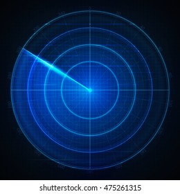 Realistic vector radar in searching . Air search . HUD radar display . Military search system blip illustration . Navigation interface wallpaper . Navy sonar .