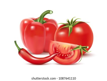 Realistic vector of red chilly pepper and tomatoes isolated on white background. 3D Vector ilustration.