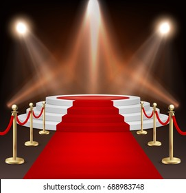 Realistic vector red event carpet, gold barriers and white stairs isolated on white background. Design template, clipart in EPS10.