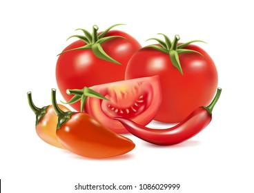 Realistic vector of red, yellow chilly peppers and tomatoes isolated on white background. 3D Vector ilustration.