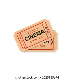 Realistic vector retro two cinema tickets isolated.