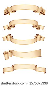 Realistic vector ribbons with a gold glossy stripe for your design project
