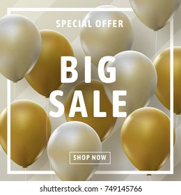 Realistic vector for sale concept. Big sale with gold and silver balloons for shopping banner and advertising. Special offer. Shop now.