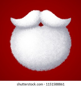 Realistic vector Santa Claus white beard isolated on red background. Eps8. RGB Global colors