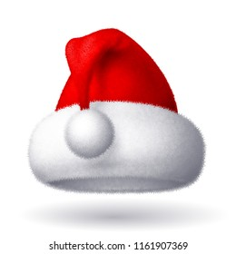 Realistic vector Santa hat isolated on white background. Eps8. RGB Global colors