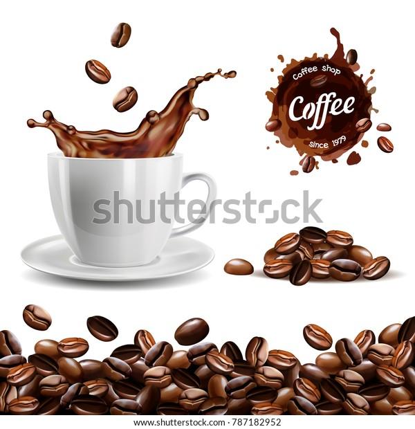 Реалистичный векторный набор элементов (фон кофейных зерен, кофейная чашка, кофейный всплеск, куча и пятно, логотип)