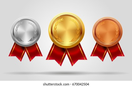 Realistic vector set of empty shining gold, silver and bronze medals and ribbon. Premium badges. Winner sport awards. Achievement icons. Vector illustration. EPS 10