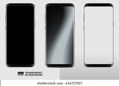Realistic vector set mock-up of new generation samsung galaxy s8 edge plus smart phone black on transparent background. Layered - just put your image on content layer. Scale image any resolution.