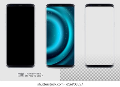 Realistic vector set mock-up of new generation samsung galaxy s8 edge plus smart phone silver on transparent background. Layered - just put your image on content layer. Scale image any resolution.
