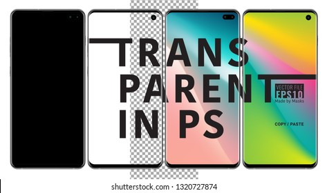 Realistic vector set mock-up of smart phone samsung galaxy s10 plus black on transparent background