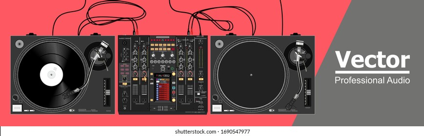 Realistic vector set of vinyl dj equipment. Legendary turntables and mixer. Illustration on the theme of nightlife and clubs. Image for a poster and flyer. Material for placement on t-shirts and caps.