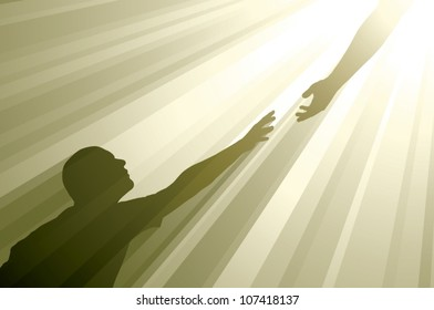 Realistic vector silhouette of a man reaching up to grasp an outstretched hand surrounded by golden rays of light.