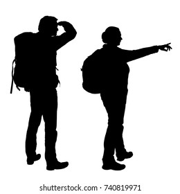Realistic vector silhouettes of men and women with backpacks on back showing hand and looking away, isolated on white background