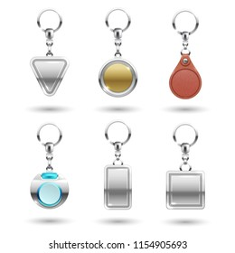 Realistic vector silver, golden, leather keychains in different shapes isolated on transparent background. Keychain metallic souvenir, trinket keyring, keyholder and breloque illustration