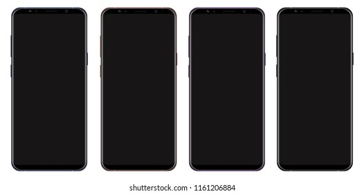 Realistic vector smartphone collection with blank screen isolated on white background